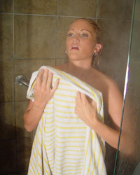 Steaming Shower - Spring Thomas strips and takes a shower